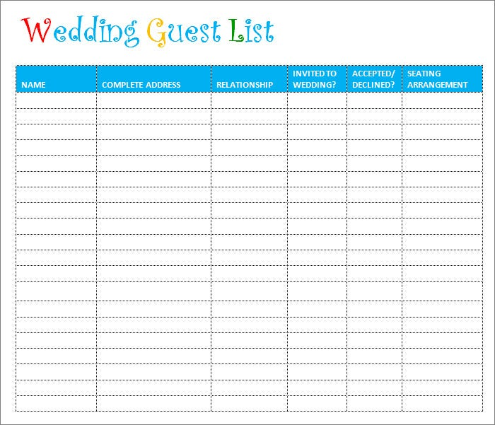 Wedding Guest List Printable In PDF U0026 Word Format  Guest List Sample