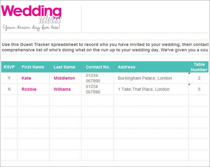 Wedding Guest List Spreadsheet And PDF Download  Printable Wedding Guest List Spreadsheet