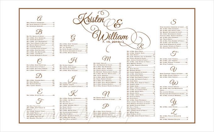 Free Wedding Seating Chart Templates