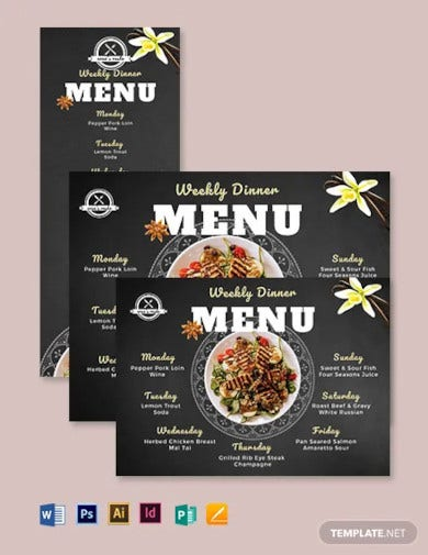 weekly dinner menu template