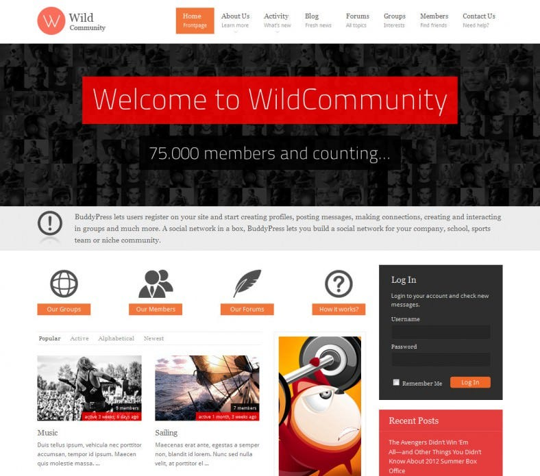 wild community buddypress theme 788x695