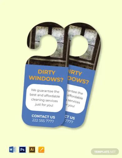 window cleaning door hanger template