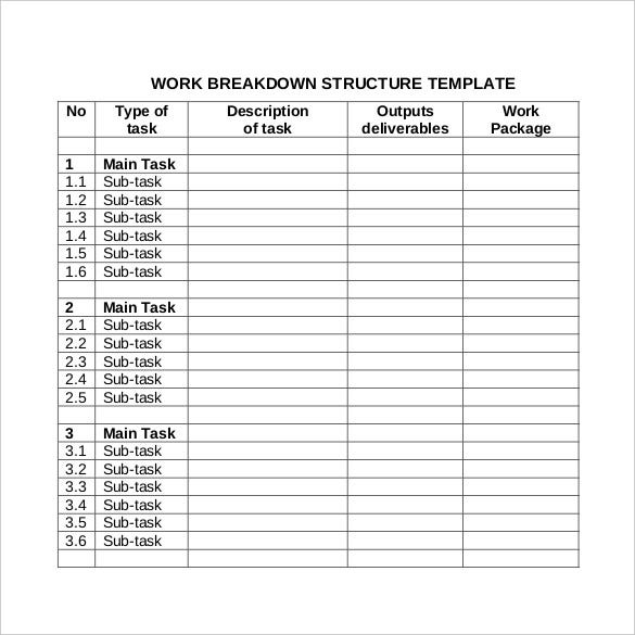 product breakdown structure excel template - 9 work breakdown structure template free premium