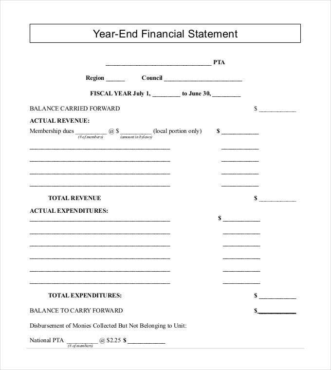 year end financial statement format template