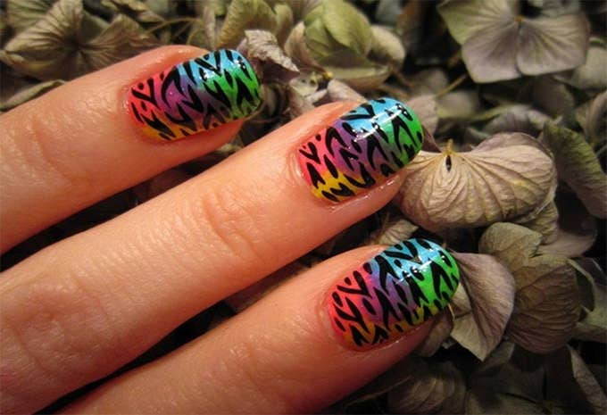 acrylic nail designs animal print