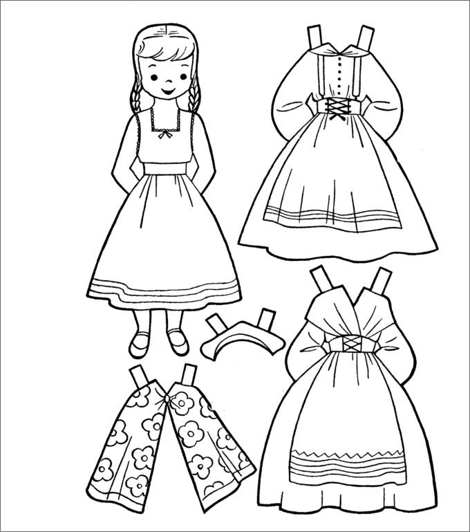 barbie paper doll template new