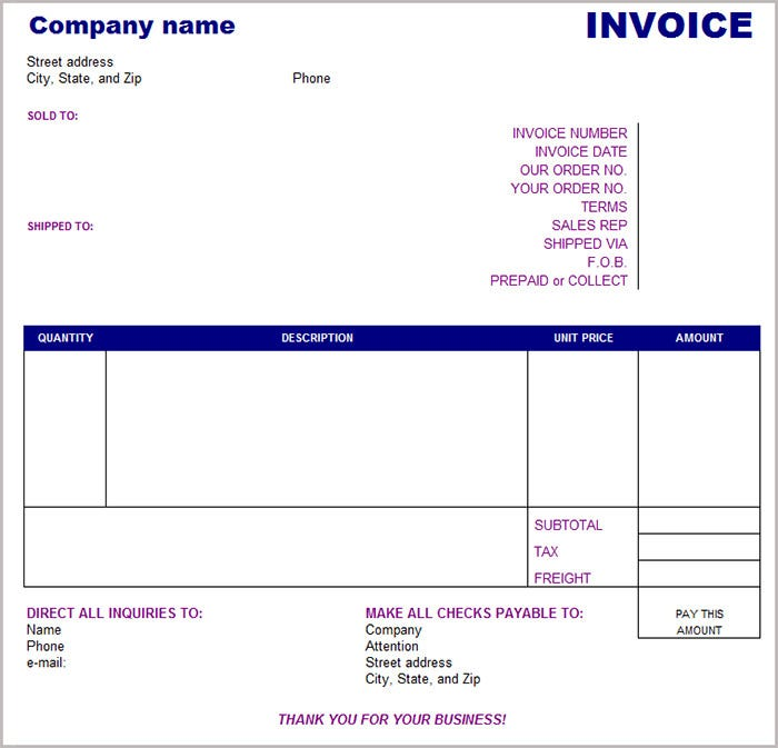 16 free basic invoice templates. Black Bedroom Furniture Sets. Home Design Ideas