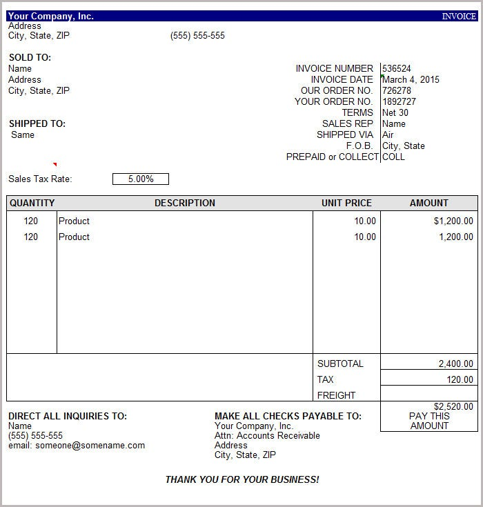 16 Free Basic Invoice Templates – Sample Invoice Template