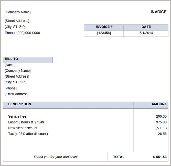 Beautiful Free Basic Invoice Template  Invoice Sample Template