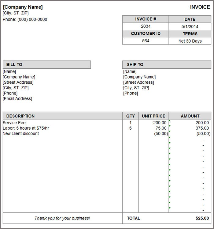 Invoice Format Template Free Word PDF Documents Download - Labor invoice template free online shopping stores