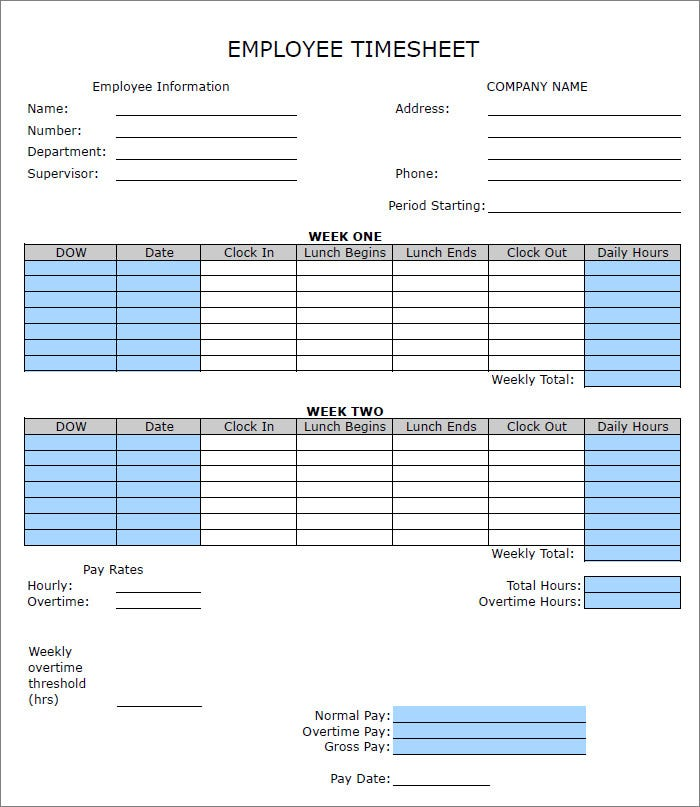 Sample Blank Timesheet Semi Monthly Timesheet Template Excel Free