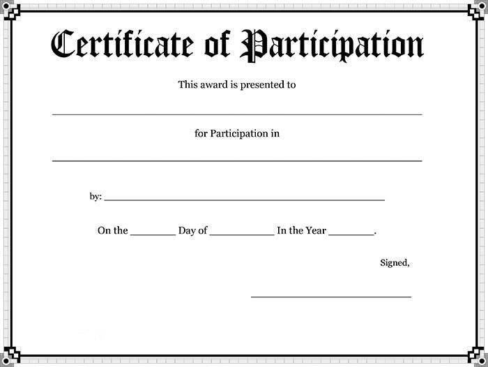 30 free printable certificate templates to download for Certificate of participation template