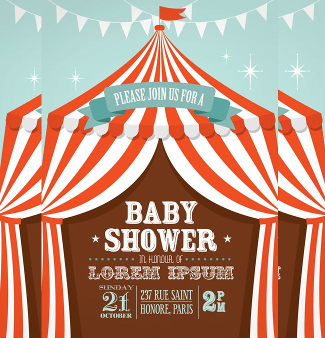 circus tent baby shower template
