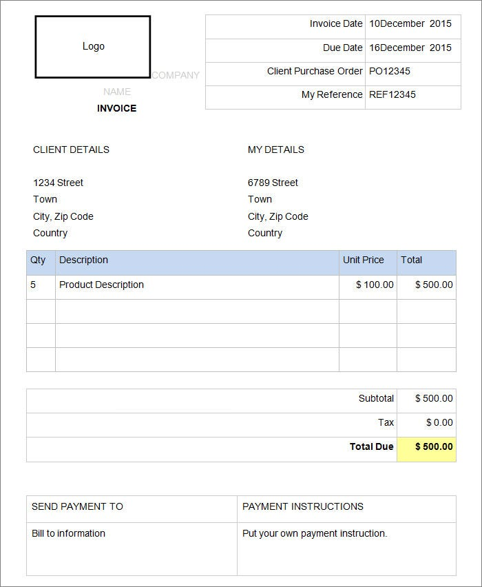 sample invoice template in word and pdf format - Template For Invoice