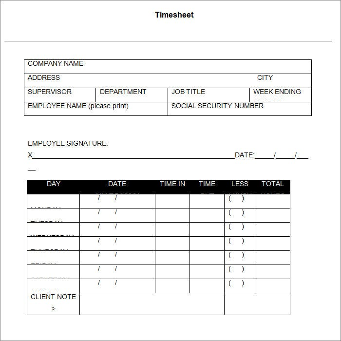 timesheet template with lunch