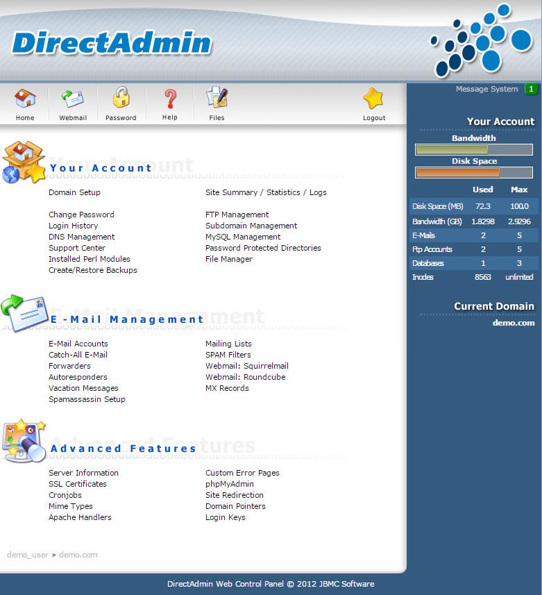 Direct Admin Web Control Panel