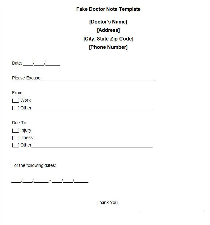 Fake Doctors Note Fake Doctor Note Template znXCQPH0
