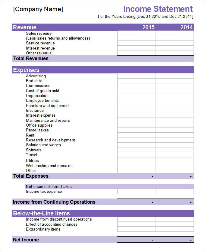 Financial Statement Template   Free  Excel Word Documents