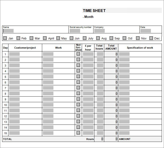Time Sheet Template Weekly Timesheet Template Sop Example Bi Weekly