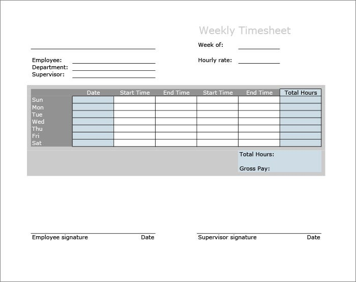 no break weekly timesheet template - Weekly Timesheet Template