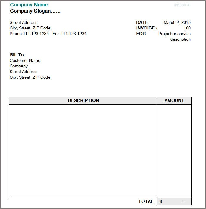 invoice format free download word