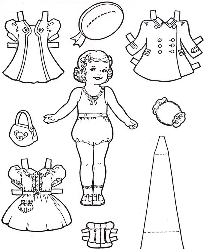 photo about Free Printable Paper Dolls Black and White titled Paper Dolls No cost Top quality Templates
