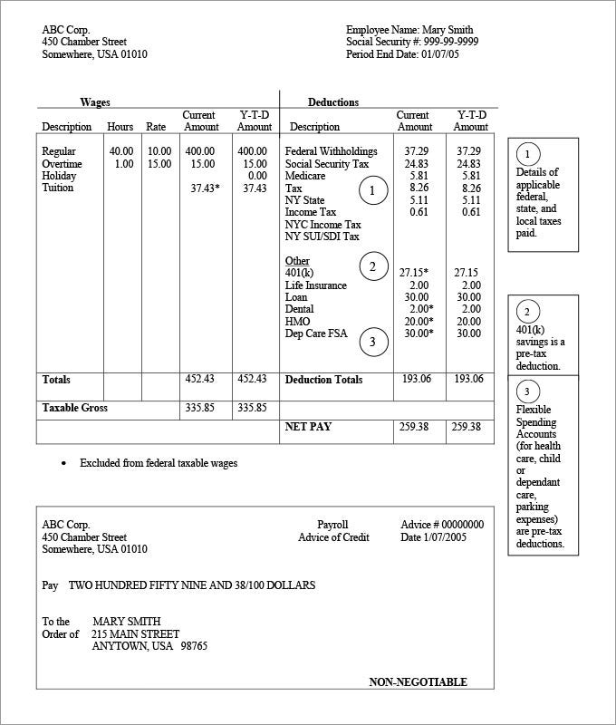 3 Check Stub Templates Free Samples Examples and Formats Download – Payroll Stubs Templates