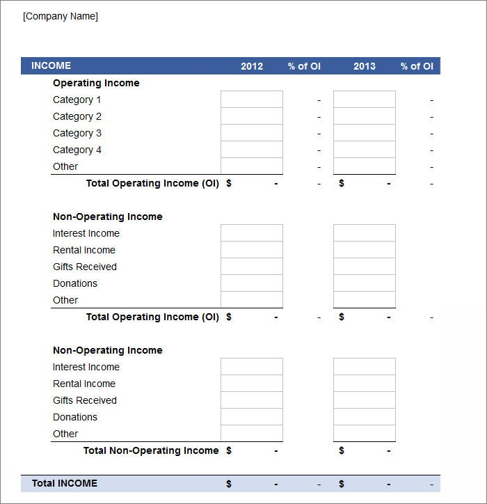It is a photo of Printable Profit and Loss Forms in printable income sheet