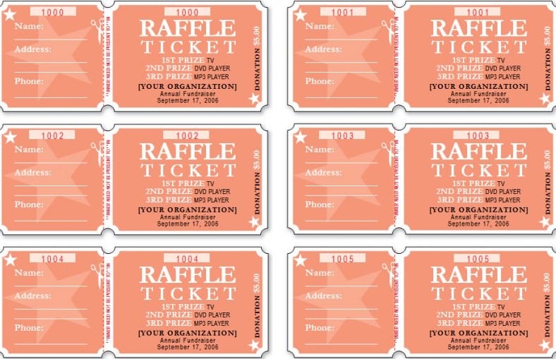 free template for raffle tickets to print