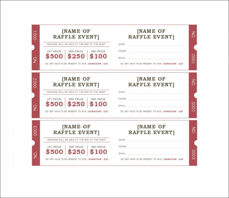 Printable Raffle Tickets Template. Free Download  Free Numbered Raffle Ticket Template