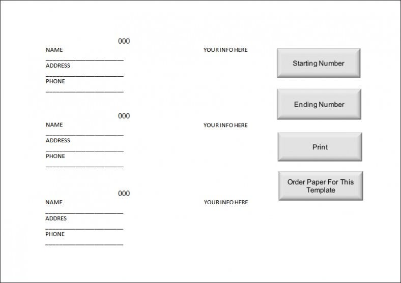 Sample Raffle Ticket Template. Free Download  Free Numbered Raffle Ticket Template