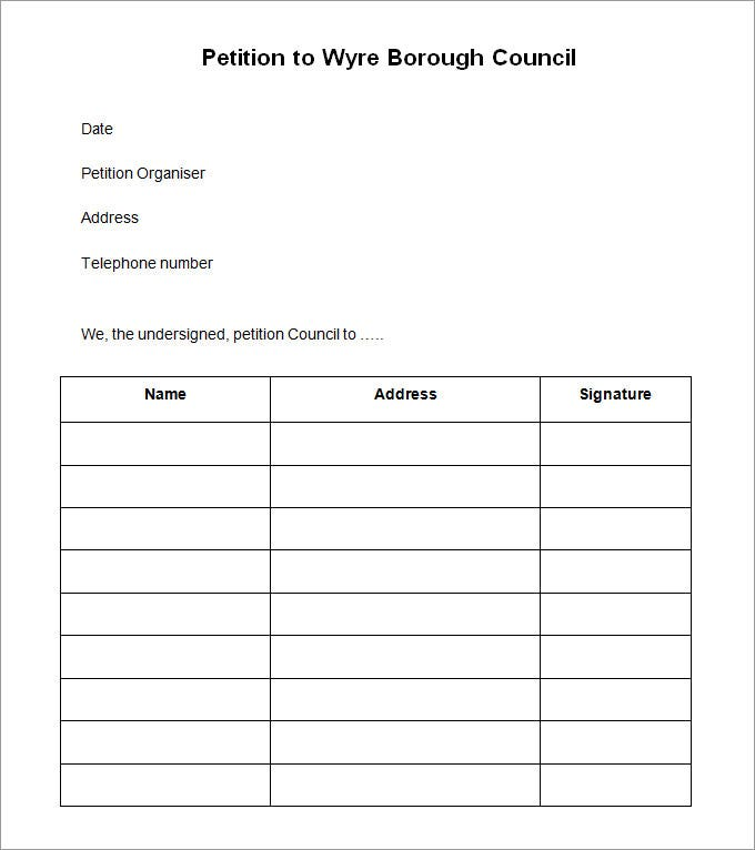 Petition Signature Template. Family Home Taxation Your Part In