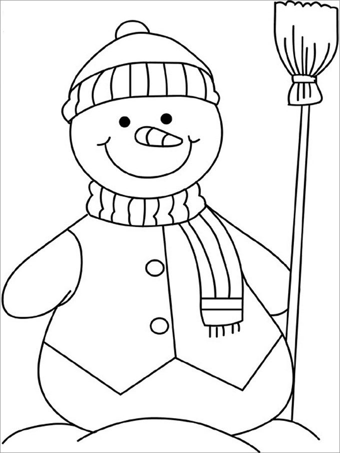 Snowman template snowman crafts free premium templates for Coloring pages of snowman