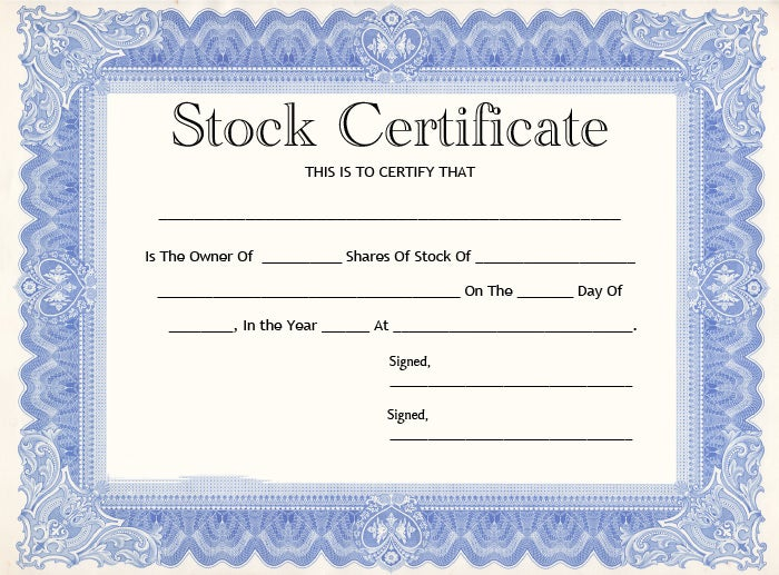 Share certificate template common stock certificate template yadclub Choice Image