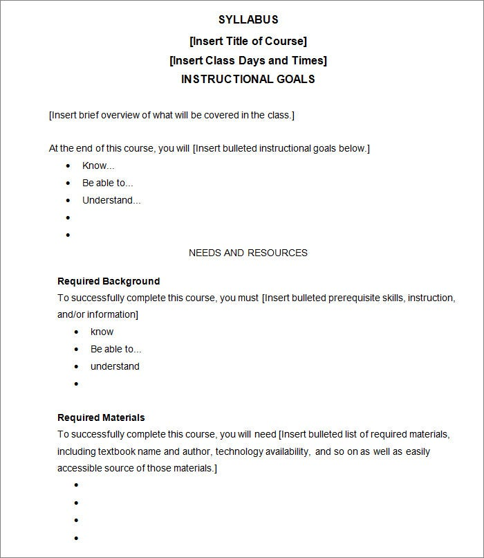 Syllabus Template - Free Templates