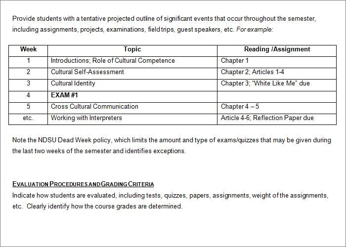 Syllabus template | sample course syllabus for word.