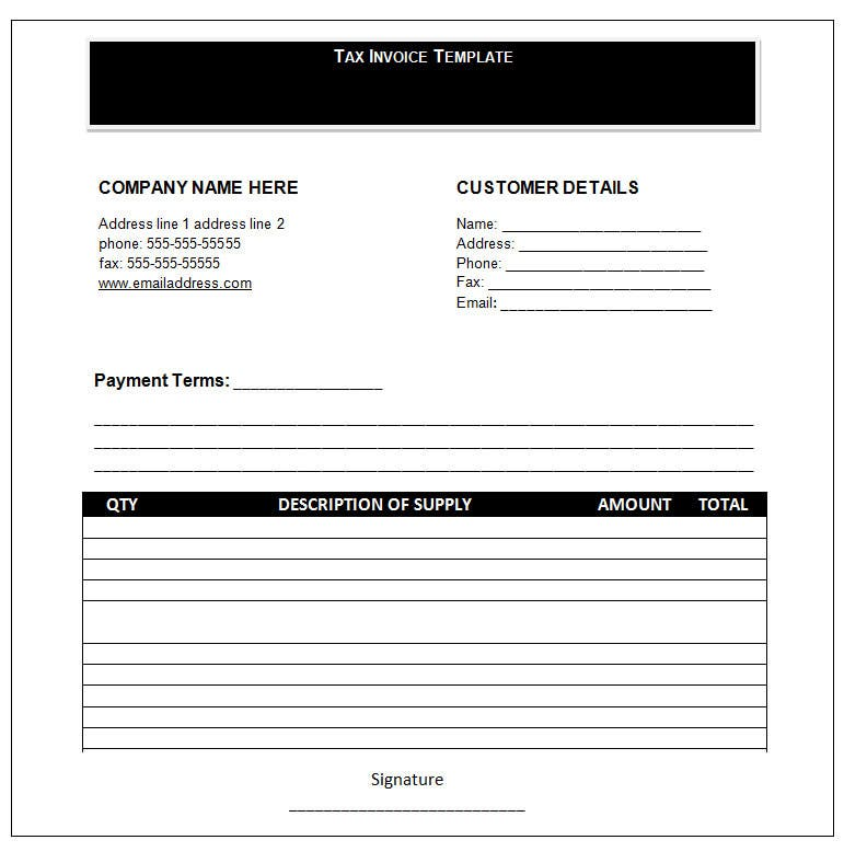 Word Invoice Template Invoice Templates – Sample Invoice Word Doc
