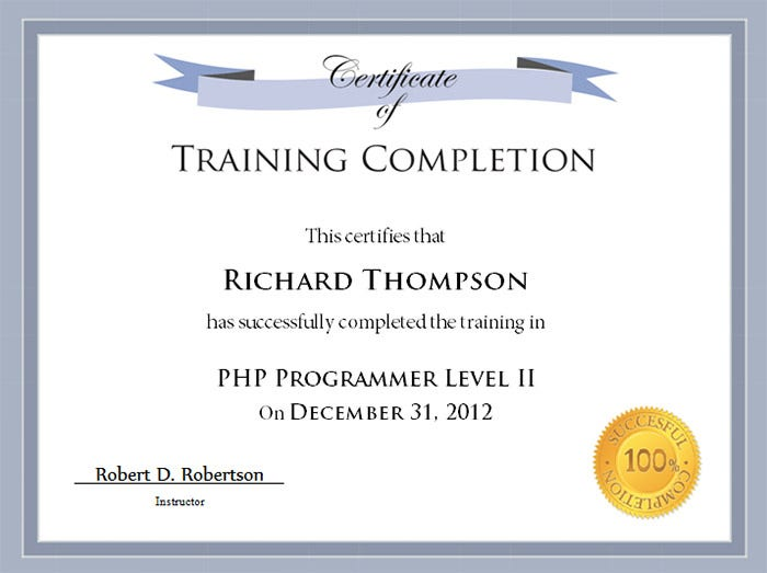 training certificate templates word