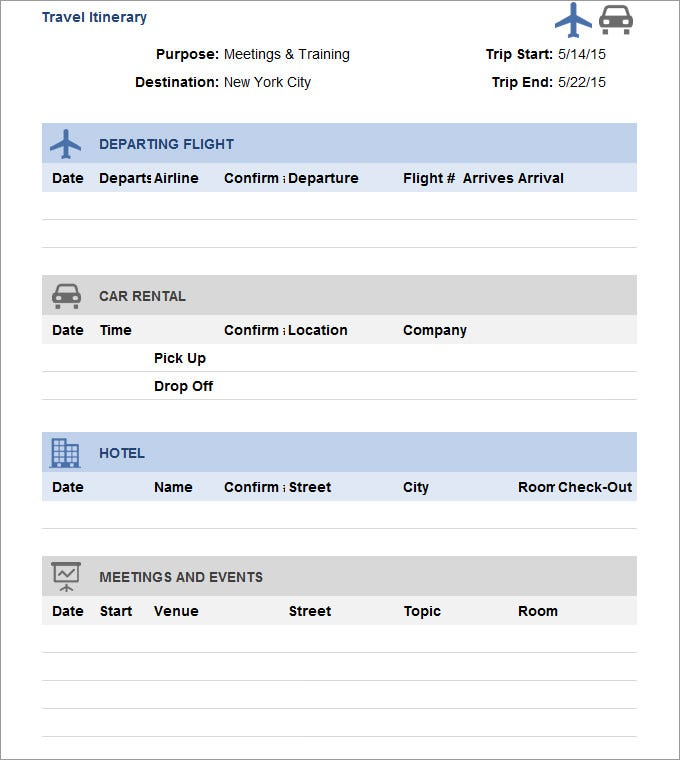 Sample Travel Itinerary Templates to Organize your Dates!