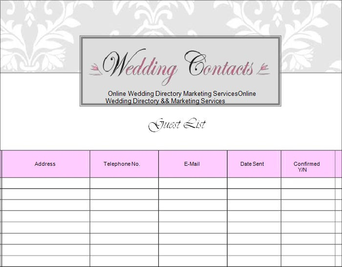 Wedding Guest List Template 6 Free Sample Example Format – Telephone Number Template