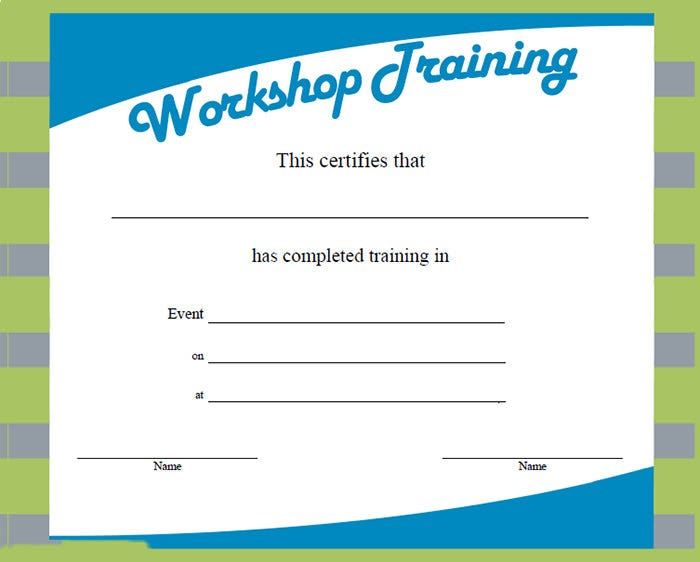 of training template – Certificate of Completion of Training Template