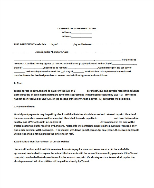 Rental Agreement Form 10 Free Word PDF Documents Download – Land Lease Agreement Form Free