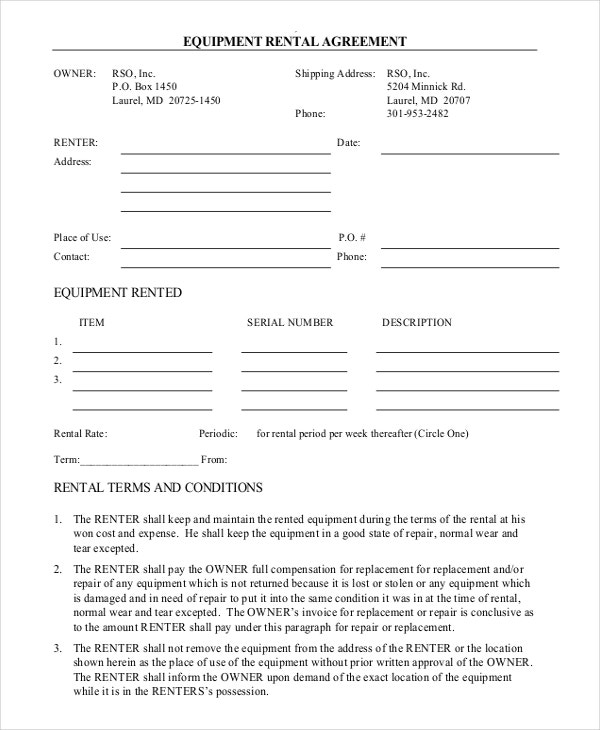 PDF Format Equipment Agreement Form Download For Free  Printable Rental Agreement Form Free