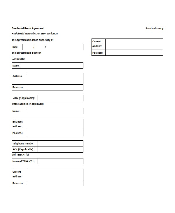 Residential Rental Agreement Doc Download