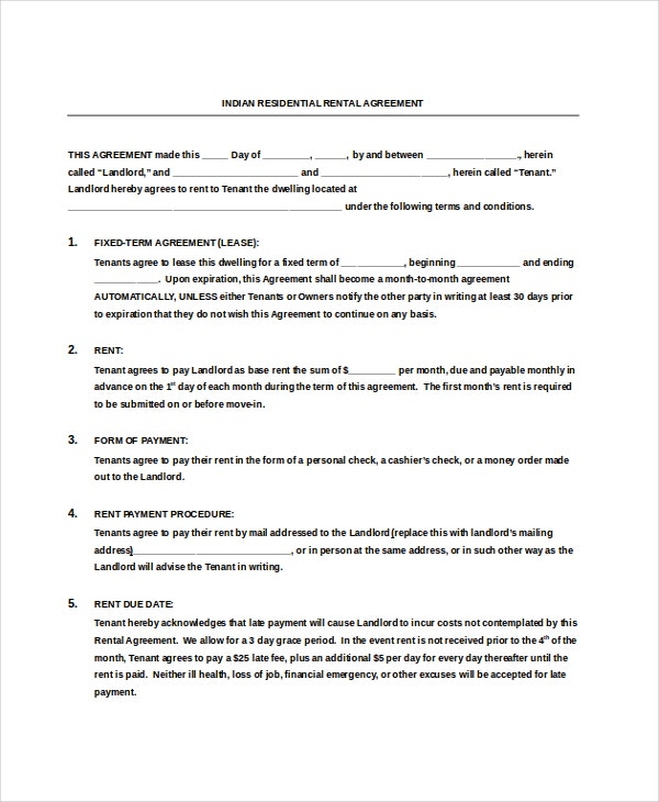 indian residential rental agreement free doc download