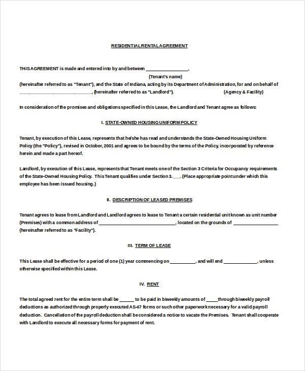Blank Residential Rental Agreement Doc Download