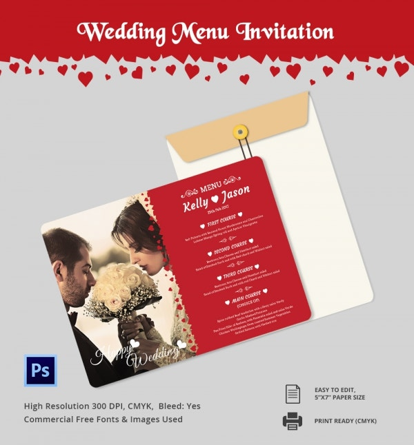 PSD Wedding Menu Invitation Template