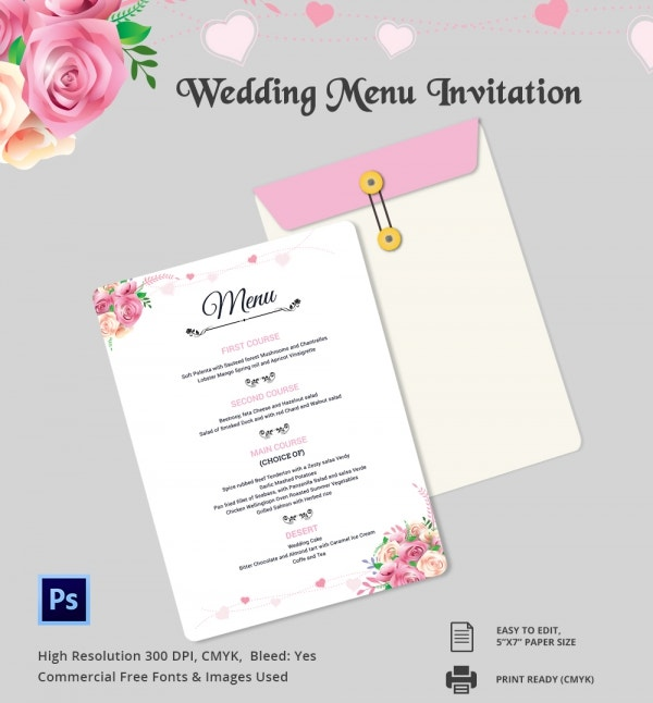 Wedding menu template 44 free word pdf psd eps for Free wedding menu templates