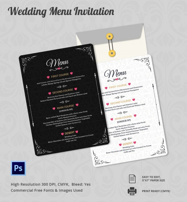 Customizable Wedding Menu Invitation Template