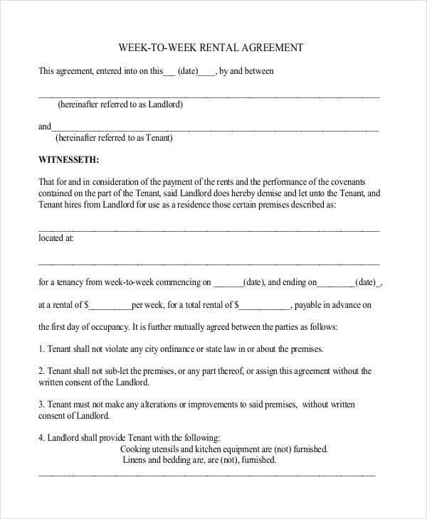 Simple Week to Week Rental Agreement Template PDF Free Download